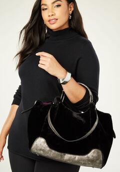 Faux Fur Trapeze Bag, BLACK