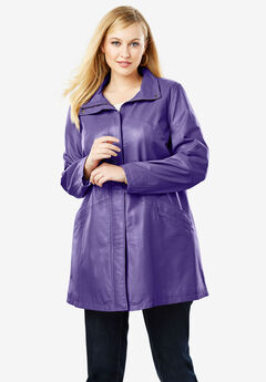 A-Line Zip Front Leather Jacket, MIDNIGHT VIOLET