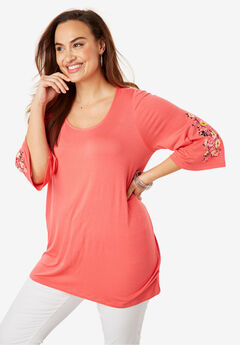 Embroidered Sleeve Tunic, SUNSET CORAL CORSAGE