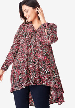 Hi-Low Georgette Tunic, BLACK FLOWER PAISLEY