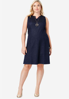Refined Denim A-Line Dress, INDIGO
