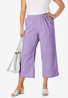 Wide Leg Linen Crop Pant, BRIGHT LILAC