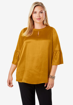 Satin Bell Sleeve Tunic,