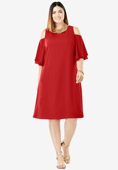 Cold Shoulder Dress, CLASSIC RED