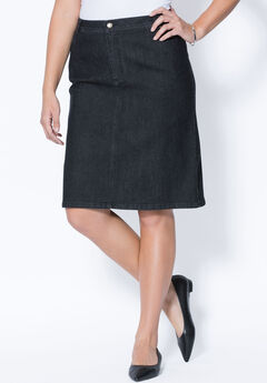 True Fit Denim Short Skirt, BLACK DENIM