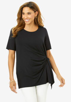 Side-Tie Tee, BLACK