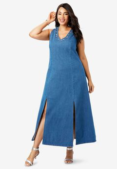 Denim A-Line Maxi Dress, BLUE RHINESTONE