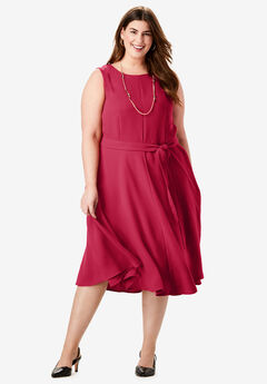 Tie-Waist Fit-And-Flare Dress, CLASSIC RED