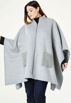 Wool Cape Coat, HEATHER GREY