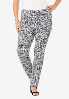 Straight Leg Stretch Denim Jeggings, WHITE ABSTRACT ANIMAL