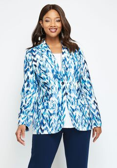Single Breasted Pant Suit, NAVY CHEVRON