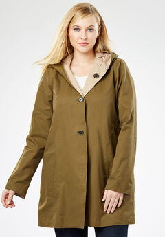 Reversible A-Line Raincoat, NEW KHAKI OLIVE DUSK