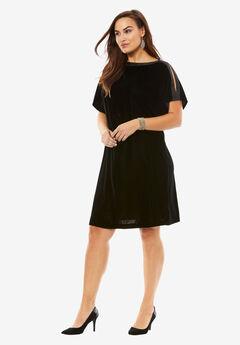 Ribbon Trim Velvet Shift Dress,
