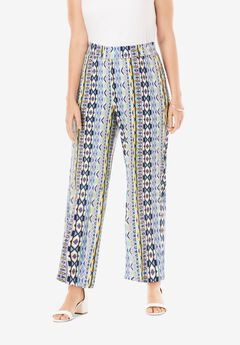 Everyday Stretch Knit Palazzo Pant, COOL TRIBAL STRIPE