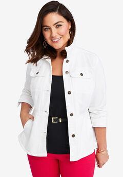 Peplum Denim Jacket, WHITE