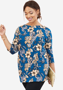 Refined Boatneck Tunic with Goldtone Buttons, TWILIGHT TEAL PAISLEY