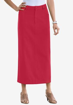 Classic Cotton Denim Long Skirt, CLASSIC RED