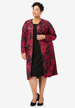 Ponte Jacket Dress, CLASSIC RED ROSE