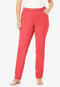 Classic Cotton Denim Straight Jeans, SOFT GERANIUM