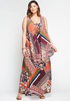 Travel Knit Maxi Dress & Vest Set, MULTI ALL OVER SCARF