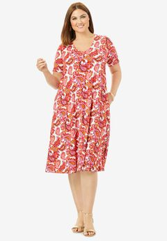 Crossback Swing Dress, PINK GRAPHIC PAISLEY