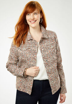 True Fit Denim Jacket, BURNT RED SPECKLE DOT