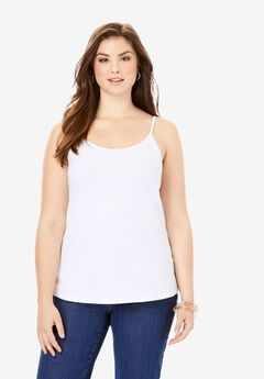 Cami Top with Adjustable Straps, WHITE