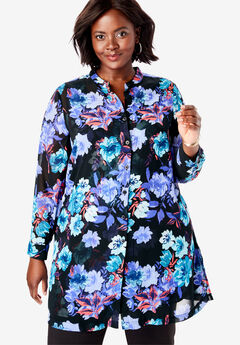 Georgette Button Front Tunic, BLACK WATERCOLOR ROSE
