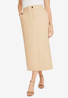 Tummy Control Bi-Stretch Midi Skirt, CAMEL TAN
