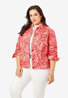 Classic Cotton Denim Jacket, GERANIUM SKETCH PAISLEY