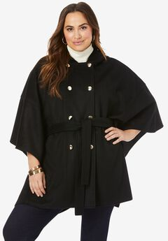 Double-Breasted Wool Poncho, BLACK
