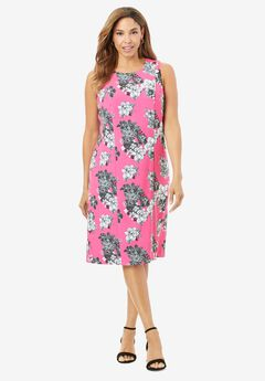 Bi-Stretch Sheath Dress, TROPICAL OUTLINE FLORAL