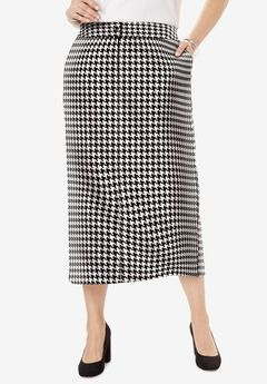 Tummy Control Bi-Stretch Midi Skirt, IVORY HOUNDSTOOTH
