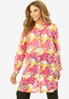 Georgette Button Front Tunic, YELLOW WATERCOLOR FLORAL