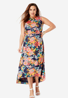 Mockneck Hi-Low Dress, SUNSET CORAL ROSE DOT