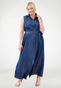 Tencel® Fit & Flare Maxi Dress,