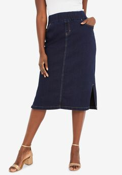 Comfort Waist Midi Skirt, INDIGO
