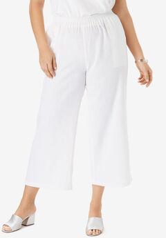 Wide Leg Linen Crop Pant, WHITE