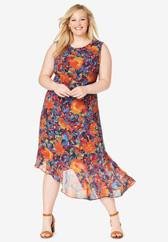 Asymmetrical Hem Dress, NAVY BLOSSOM FLORAL