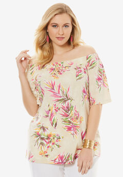 Off-the-Shoulder Linen Tunic,
