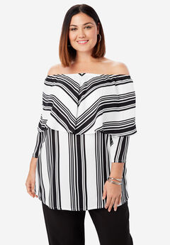 Off-The-Shoulder Georgette Tunic, WHITE STRIPE