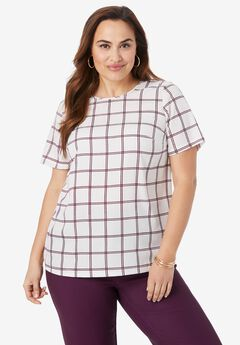 Crew Neck Crepe Blouse, BERRY DOUBLE PANE