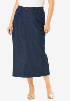 Classic Cotton Denim Long Skirt, INDIGO