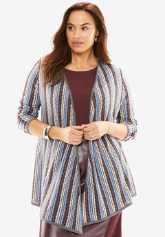 Textured Open-Front Cardigan,