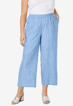 Wide Leg Linen Crop Pant, HORIZON BLUE BENGALS STRIPE