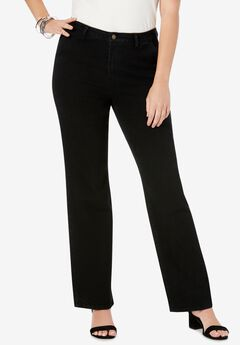 True Fit Wide Leg Jeans, BLACK