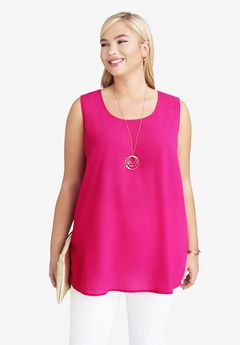 Georgette Button Front Tunic, VIVID PINK