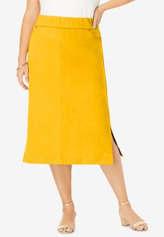 Comfort Waist Midi Skirt, SUNSET YELLOW