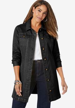 Long Denim Jacket, BLACK