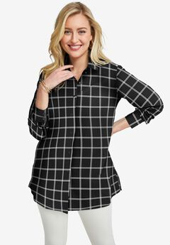 Poplin Tunic, BLACK DOUBLE PANE